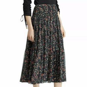 Ralph Lauren black floral peasant skirt New